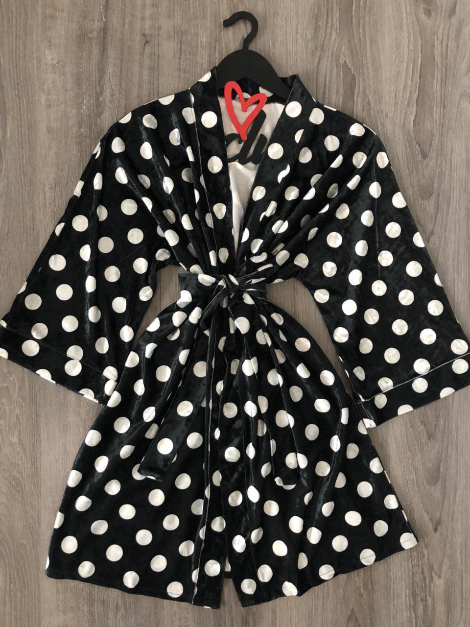 fb350503666f Черный велюровый халат в крупный горох ТМ Exclusive, цена 255 грн., купить  в Харькове — Prom.ua (ID#714917178)