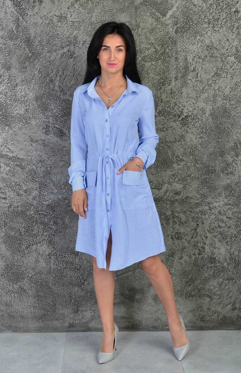 Стильная летняя платье-рубашка (811)