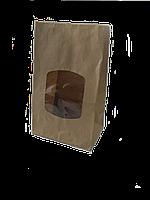 Пакет, 280х170х120 мм., з вікном бурий крафт, 70 г/м2, прям.дно