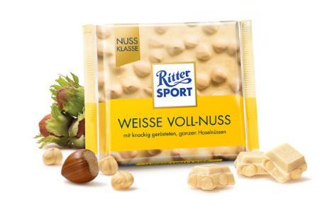 Шоколад Ritter Sport белый с цельным орехом 100г