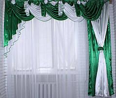 Ламбрекен с шторкой из атласа. Модель №59. Цвет зелёный с белым.