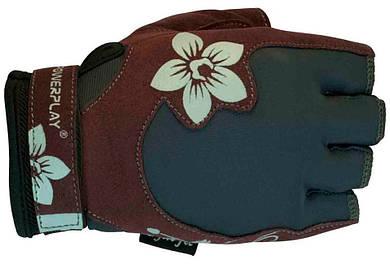 Перчатки женские для фитнеса PowerPlay 1733 коричневые
