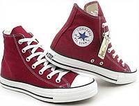 """Кеды  женские  текстильные Converse Original  (с новым логотипом) """"Бордовые высокие"""" р.39, фото 1"""