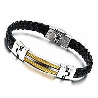 Мужской кожаный браслет Primo Steel Rope - Gold