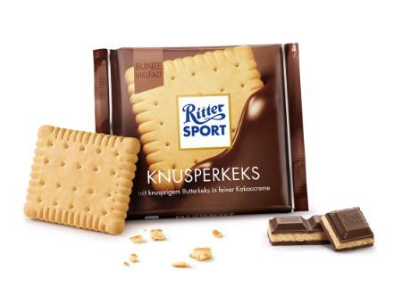 Шоколад Ritter Sport Knusperkeks молочный с печеньем 100 г