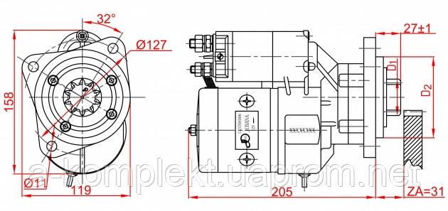 Стартер редукторный трактора RENAULT,KRAMER,MENGELE ( 12В 2,7кВт ) 4