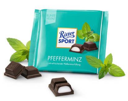 Шоколад Ritter Sport Pfefferminz черный мята 100 г, фото 2