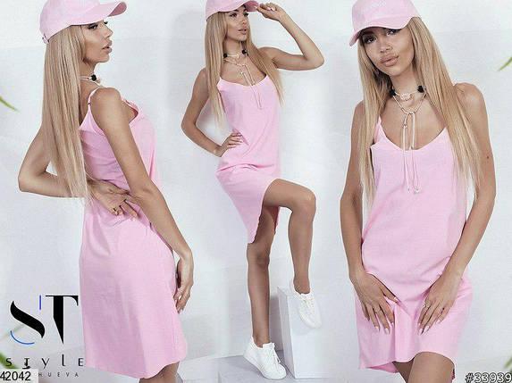 Легкое платье мини без рукав полуоблегающее супер софт розовое, фото 2