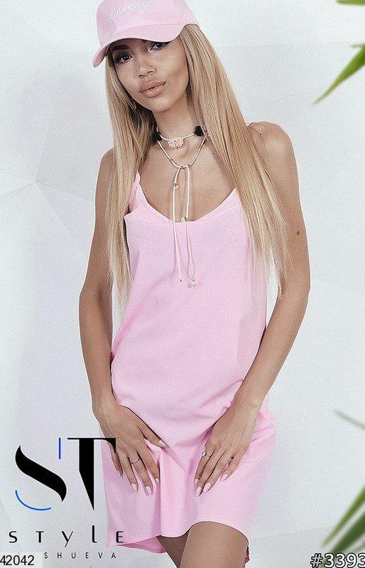 Легкое платье мини без рукав полуоблегающее супер софт розовое