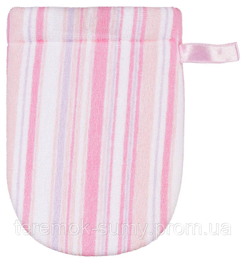 Для купания Badum Рукавичка махровая с губкой  розовая