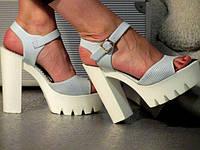 Женские Голубые Летние Босоножки на высоком каблуке р.36,38