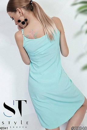 Красивое платье выше колен полуприталенное без рукав однотонное мятное, фото 2