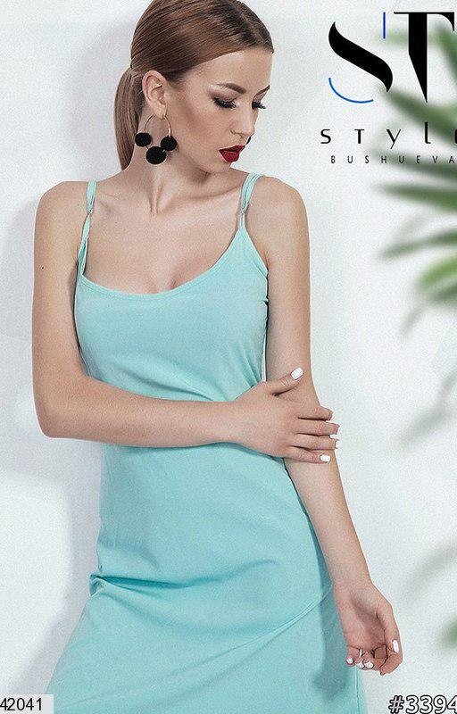 Красивое платье выше колен полуприталенное без рукав однотонное мятное