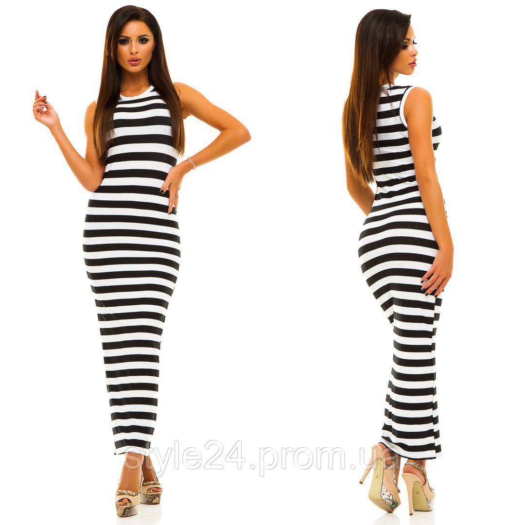 ЖІноче довге літнє плаття в полоску .Р-ри 42-46  продажа 9e10f3a489037