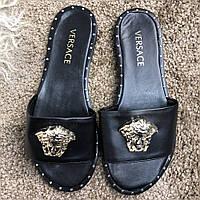 Шлепанцы женские Versace Slide Sandals Medusa 18419 черные, фото 1