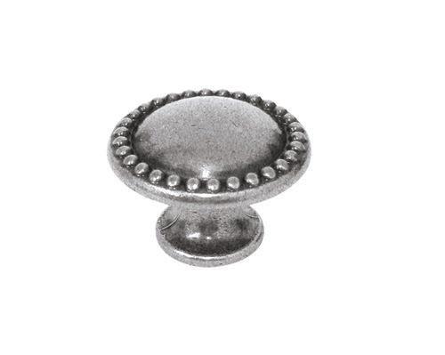 URB-24-83/19 Ручка кнопка современная классика, античное серебро, фото 1