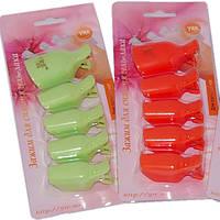 Набор 5 шт Зажимов Педикюрных Пластиковых для Снятия Гель-Лака для Пальцев Ног. Клипсы, Прищепки.