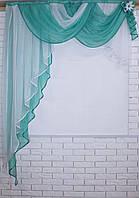 Кухонный ламбрекен №50 Цвет бирюзовый с белым.