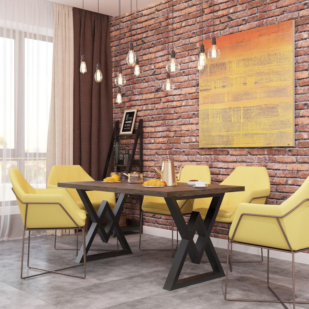 Обеденный стол Астон 120*75 Черный бархат/Дуб античный (Металл дизайн)
