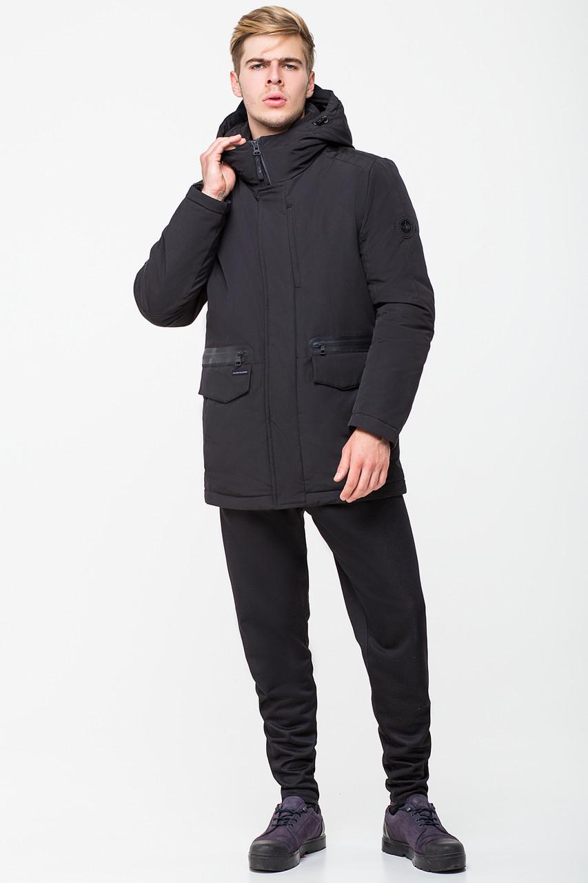 Черная зимняя мужская куртка в классическом стиле с капюшоном CW18MD024CN черного цвета (#701)