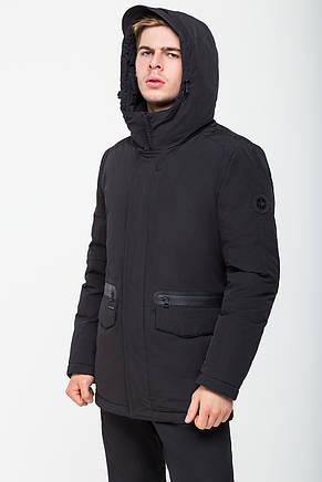 Черная зимняя мужская куртка в классическом стиле с капюшоном CW18MD024CN черного цвета (#701), фото 2
