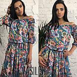 Женское красивое шифоновое платье в пол со спущенными плечиками (5 цветов), фото 3