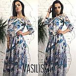 Женское красивое шифоновое платье в пол со спущенными плечиками (5 цветов), фото 6