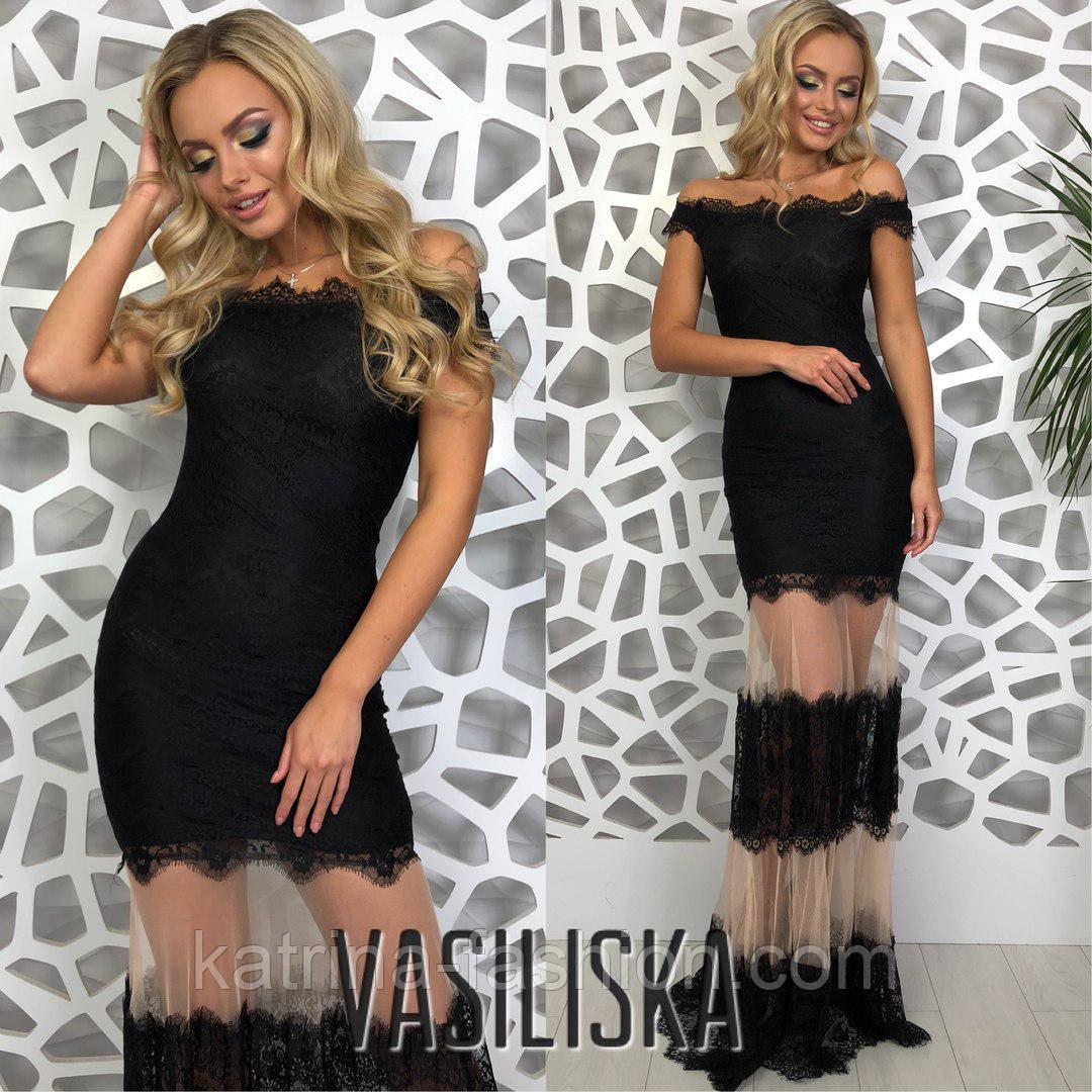 Женское красивое эффектное вечернее гипюровое платье со вставками сетки (3 цвета)