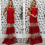 Женское красивое эффектное вечернее гипюровое платье со вставками сетки (3 цвета), фото 5
