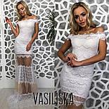 Женское красивое эффектное вечернее гипюровое платье со вставками сетки (3 цвета), фото 8