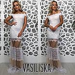 Женское красивое эффектное вечернее гипюровое платье со вставками сетки (3 цвета), фото 9