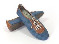 Женские синие мокасины на шнурках
