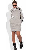 Платье толстовка с капюшоном светло-серое размеры от XL ПБ-612