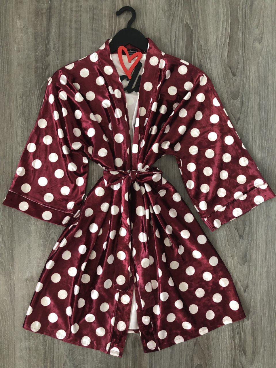 ТМ Exclusive молодіжний домашній халат з велюру, великий горох.