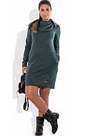 Платье толстовка с капюшоном зеленое размеры от XL ПБ-613