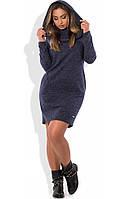 Платье толстовка с капюшоном темно синее размеры от XL ПБ-614