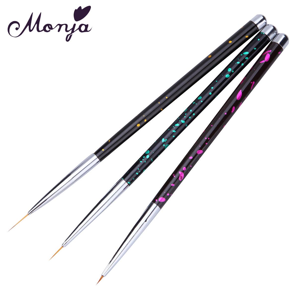 Набор кистей Monja для тонких линий, 3 шт. (ручка металл)