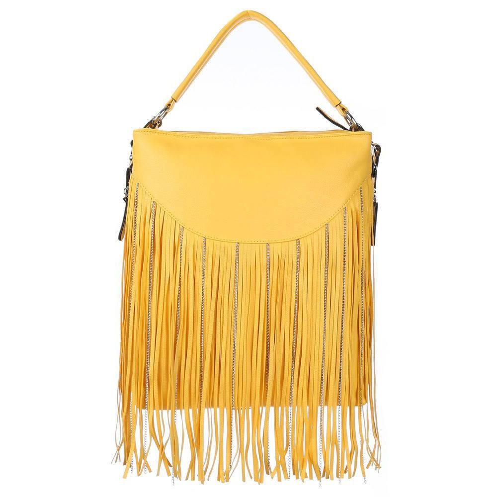 Большая наплечная сумка с бахромой (Европа) Желтый
