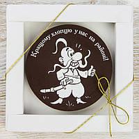 """Шоколадная медаль """" Кращому хлопцю на районі """" классическое сырье. Размер: Ø80х8мм, вес 50г, фото 1"""