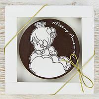 """Шоколадная медаль """" Моему ангелочку """" классическое сырье. Размер: Ø80х8мм, вес 50г, фото 1"""