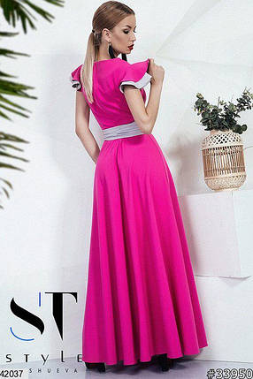 Красивое платье макси полуоблегающее с поясом на талии малиновое, фото 2