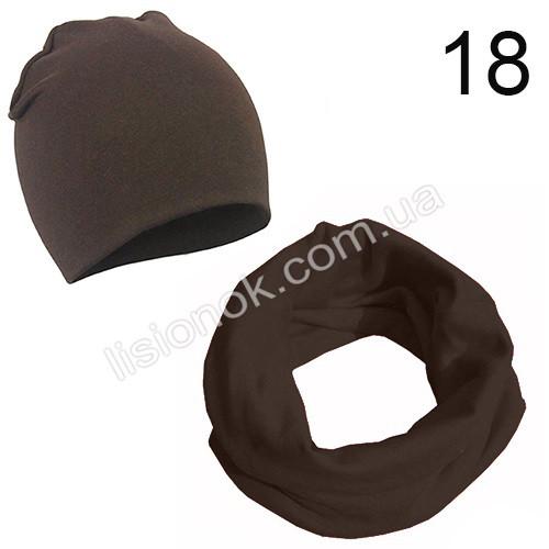 Коричневый набор детский шапка и хомут Bape