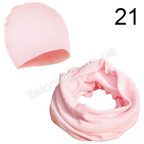 Светло-розовый набор детский шапка и хомут Bape