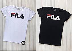Мужская спортивная футболка в стиле Fila White\Black 2 цвета в наличии