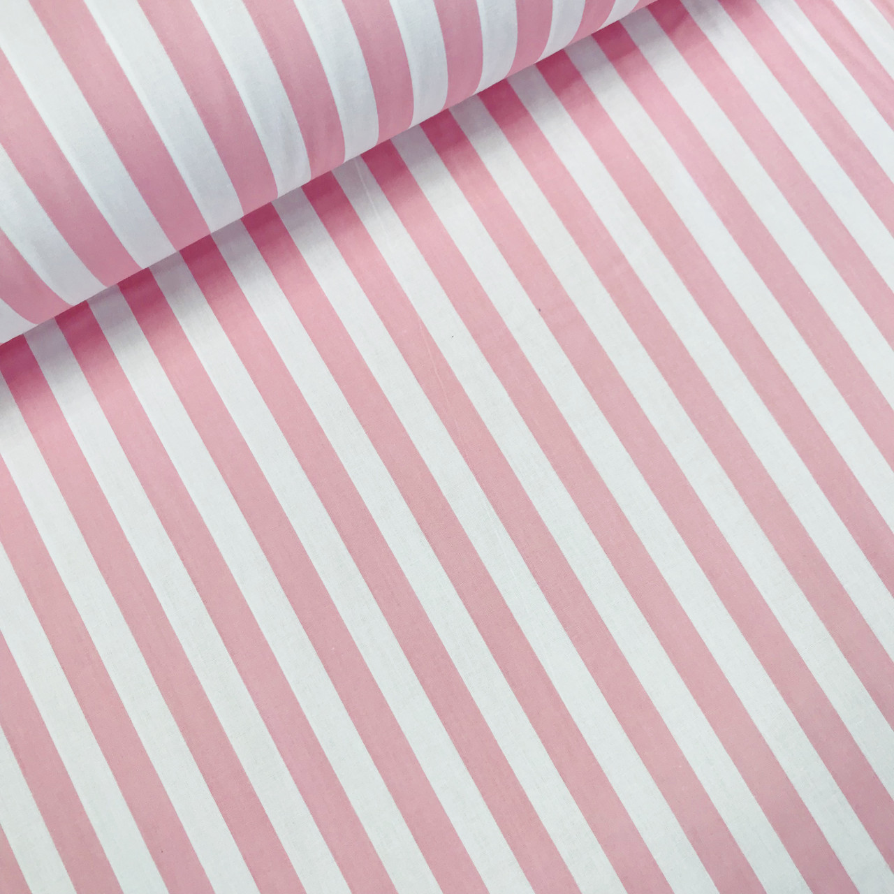Хлопковая ткань (ТУРЦИЯ шир. 2,4 м) полоска розовая