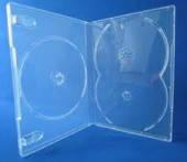 Бокс для 3 DVD дисків 14mm напівпрозорий трей, глянцева плівка