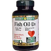 Рыбий жир в капсулах + витамин D3 Nature's Bounty  90 капсул