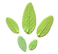 Молд (молды) набор из 5 шт листья (лист) перечной Мяты (Мята) для Фоамирана, полимерной глины