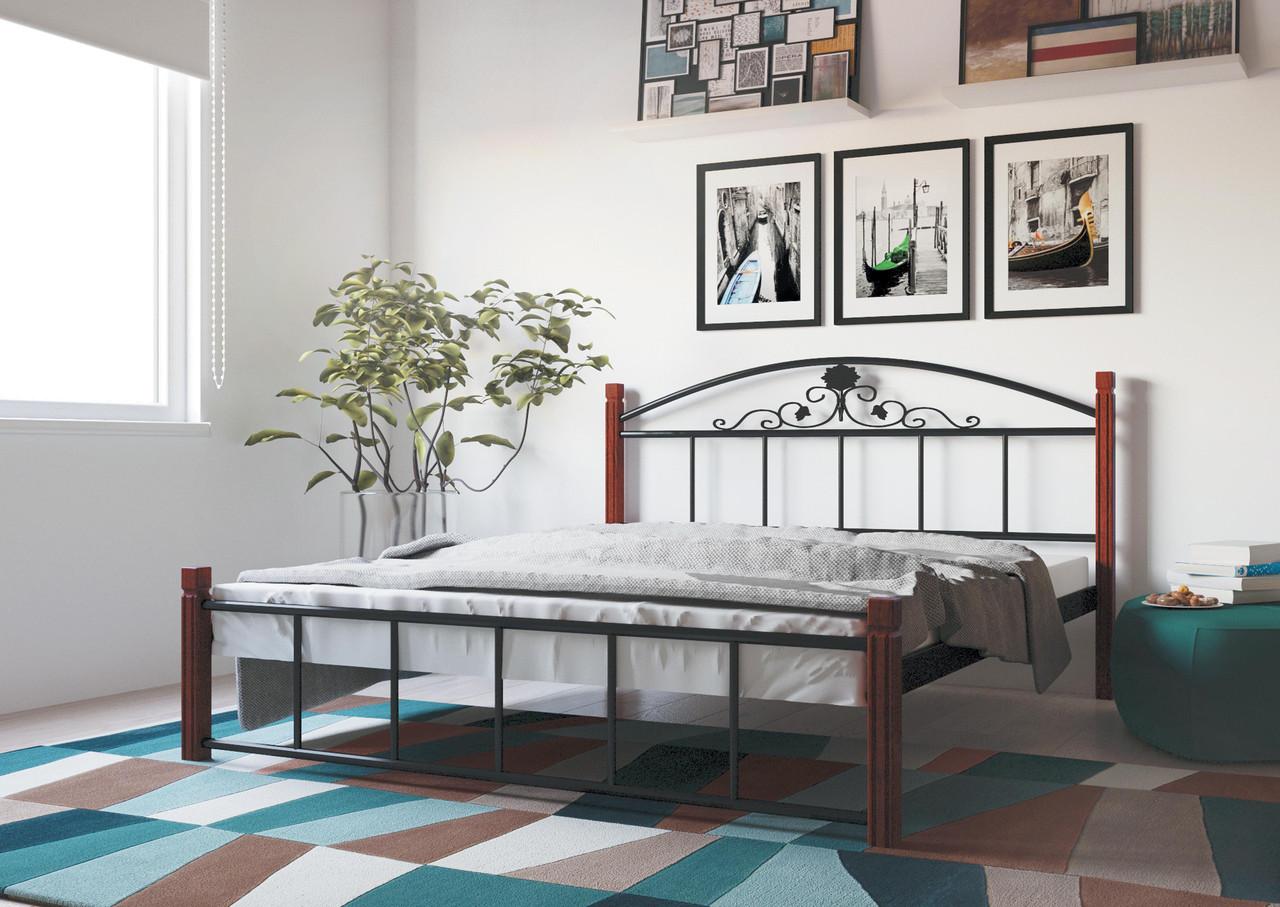 Кровать Кассандра 140*200 деревянные ножки (Металл дизайн)