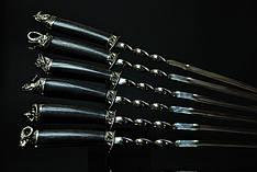"Набор шампуров ""Сафари"" (6шт, 3мм) в футляре из мореного вяза (наличие уточняйте)"